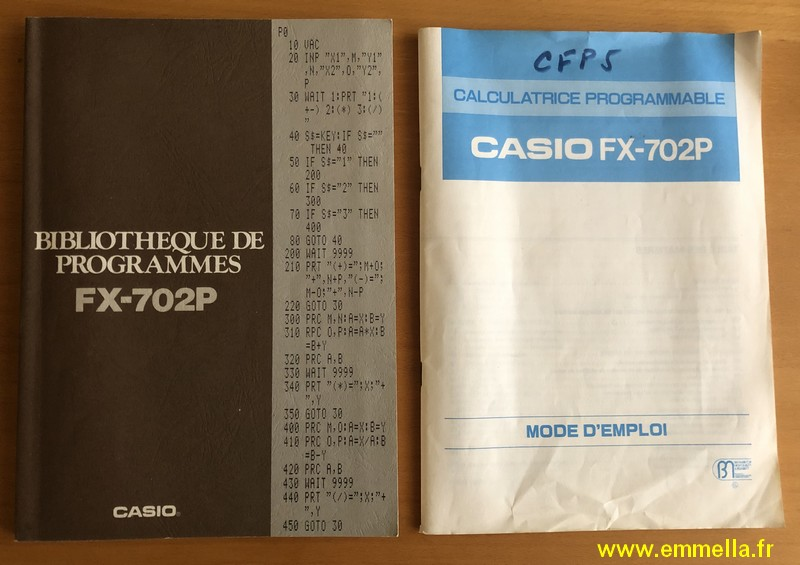 Documentation Casio FX-702P