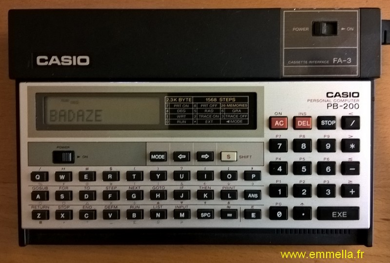 Casio PB-200 avec interface FA-3