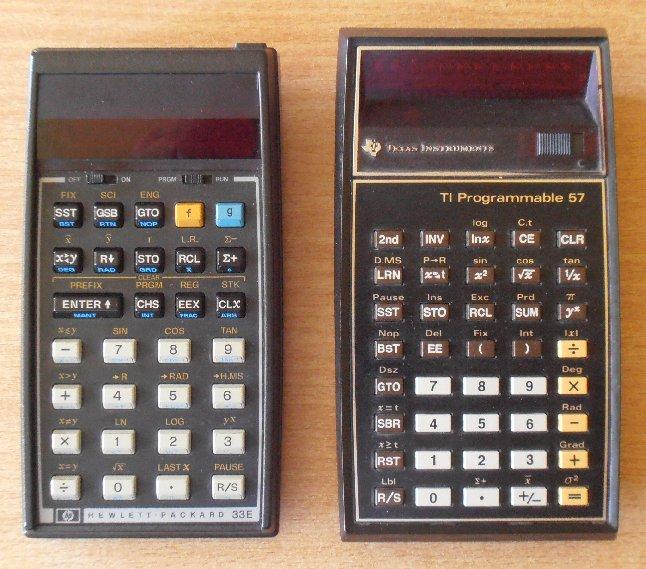 HP 33E vs TI 57