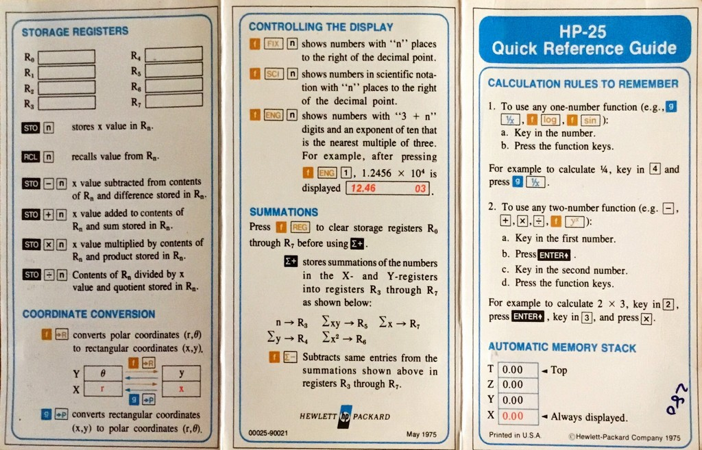 Hewlett Packard HP-25 Quick reference guide