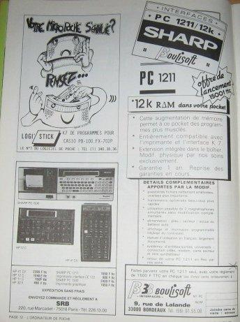 Pub Extension mémoire PC 1211