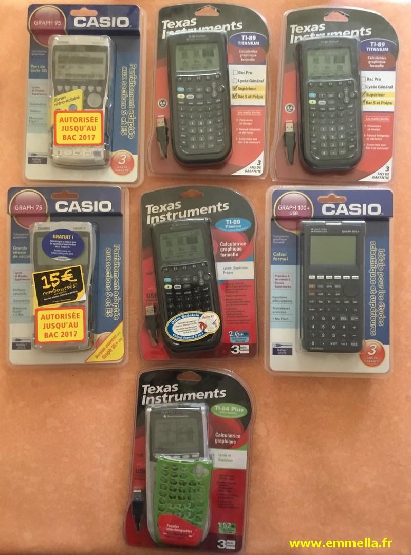 Casio Graph 75, Graph 95, Graph 100+, Texas Instruments TI 84+, TI 89 Titanium