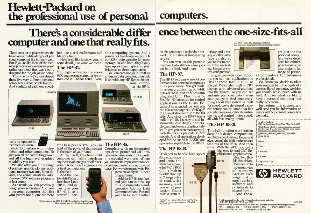 HP on the professional use of personal computers (HP 41C)