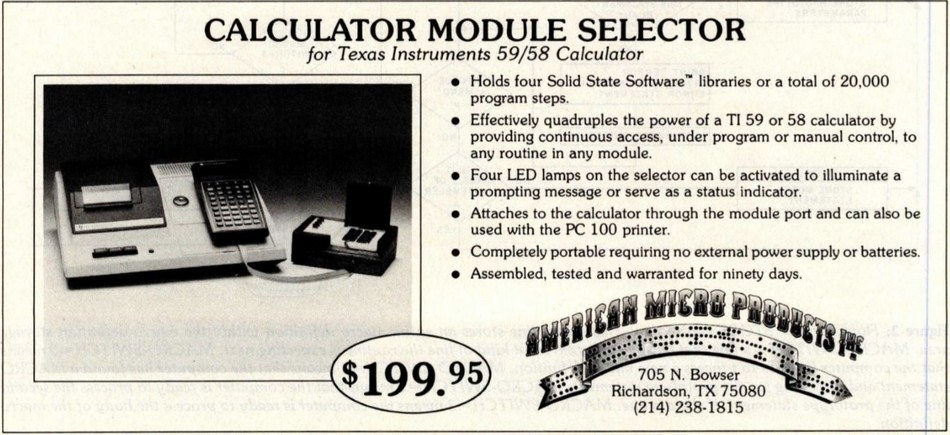 Calculator module selector for TI 59/58 Calculator
