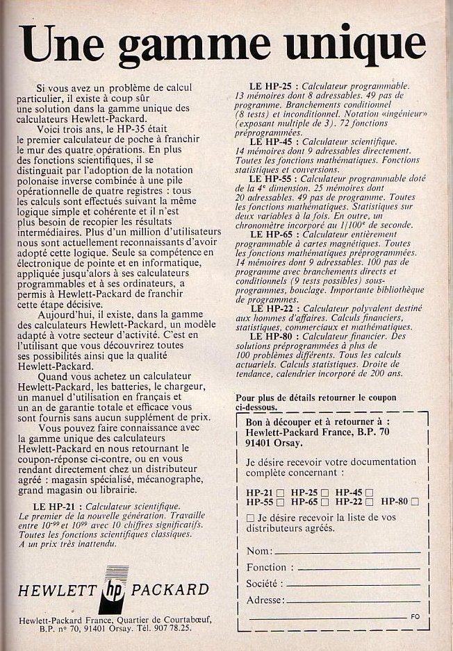 HP pour les sciences et les affaires