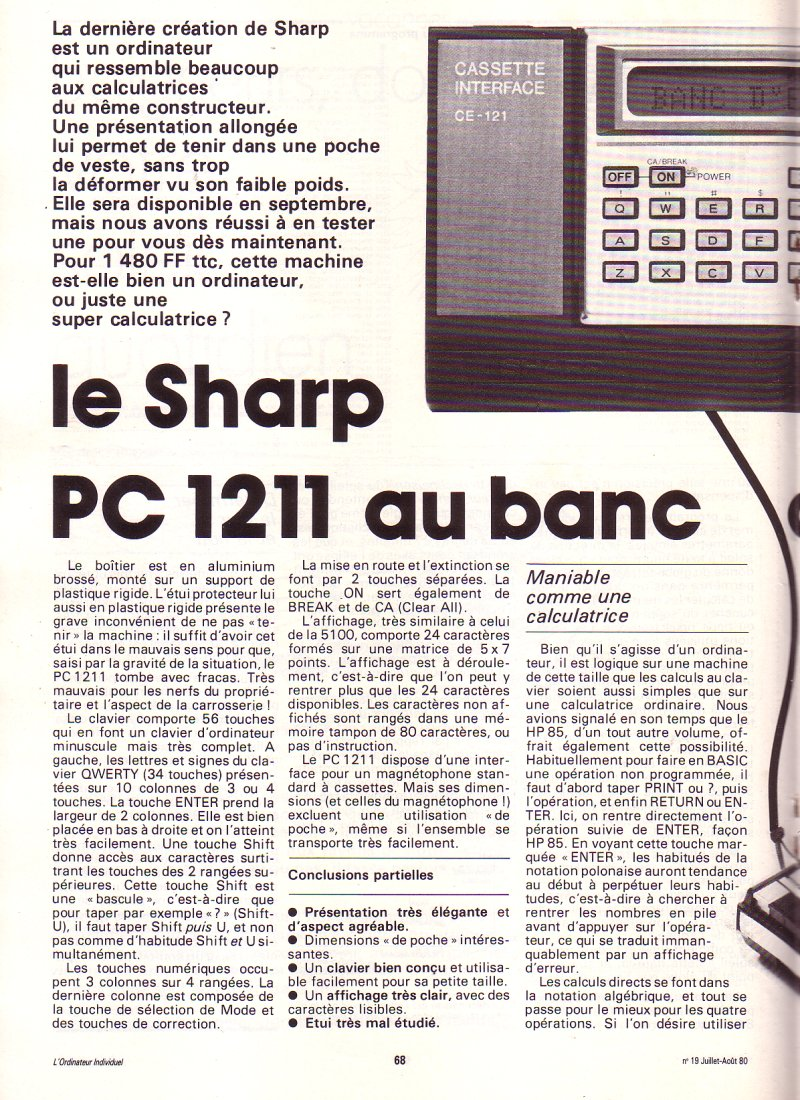 Le Sharp PC 1211 au banc d'essai