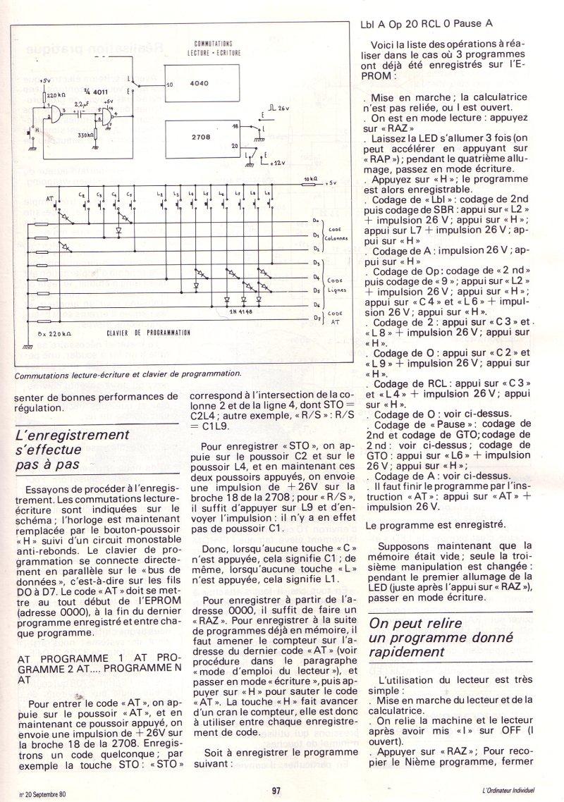 Un P'TI bout de mémoire en plus - un schéma d'extension pour TI 57-58