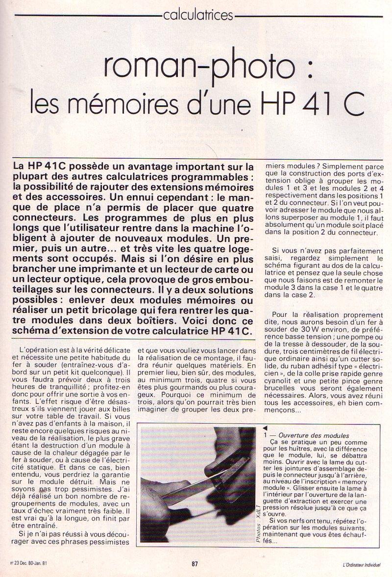 Roman Photo : Les mémoires d'une HP 41C
