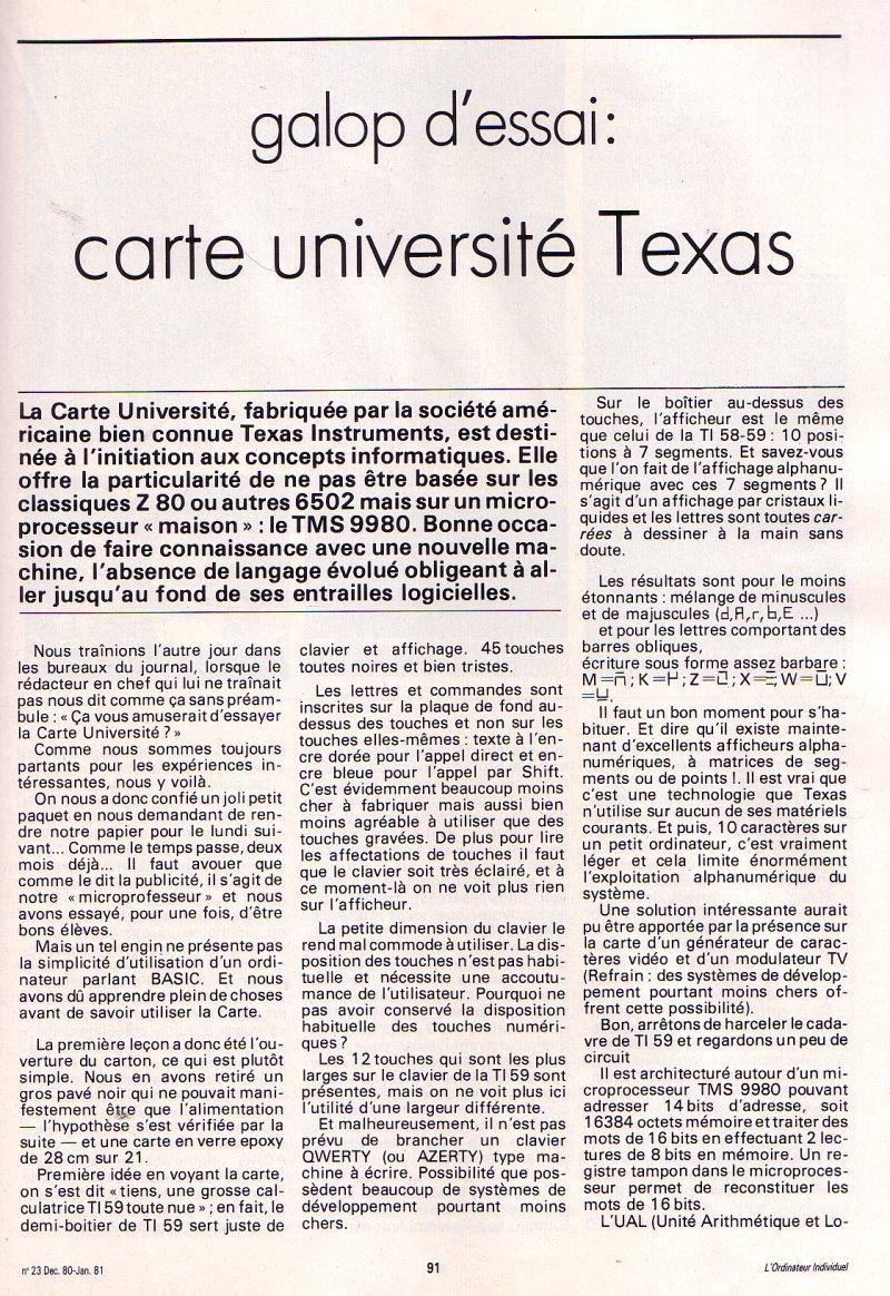 Galop d'essai : Carte université Texas Instruments