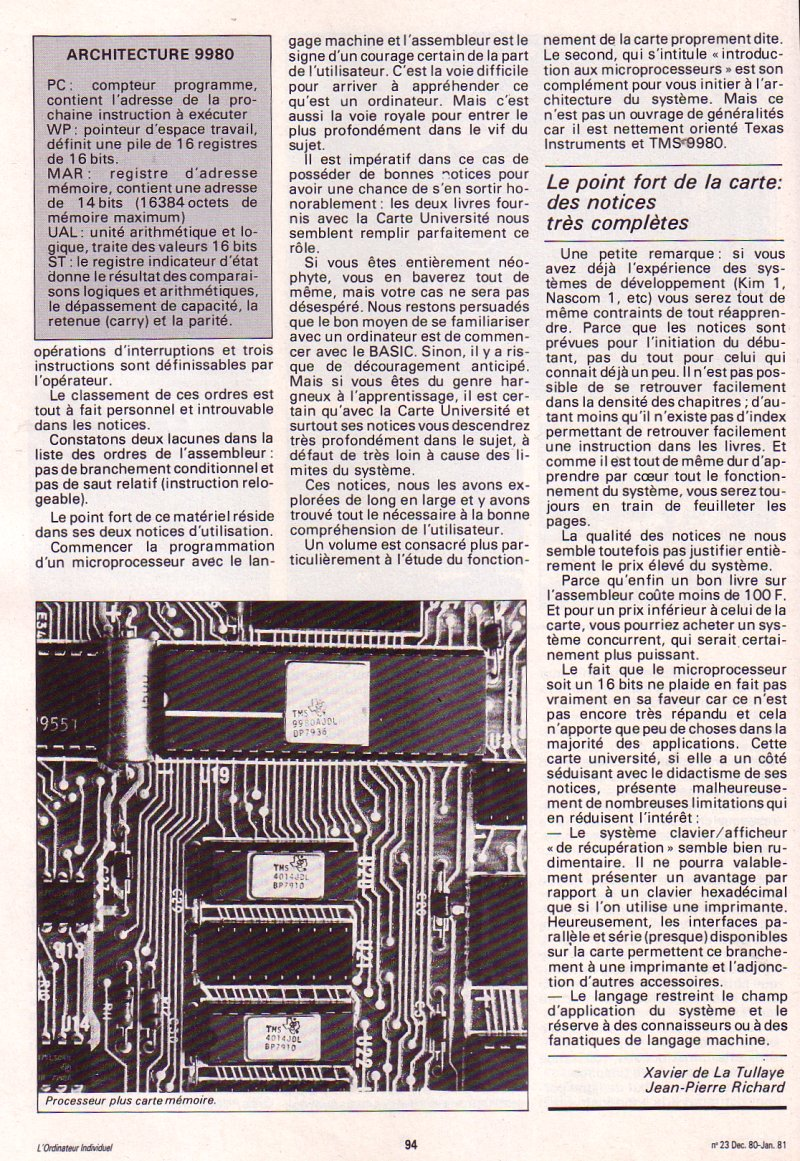 Galop d'essai : Carte université Texas Instruments