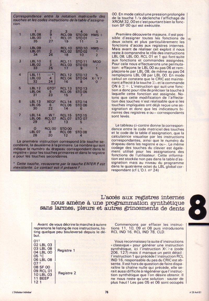 Les instructions cachées de la HP 41C - épisode 3