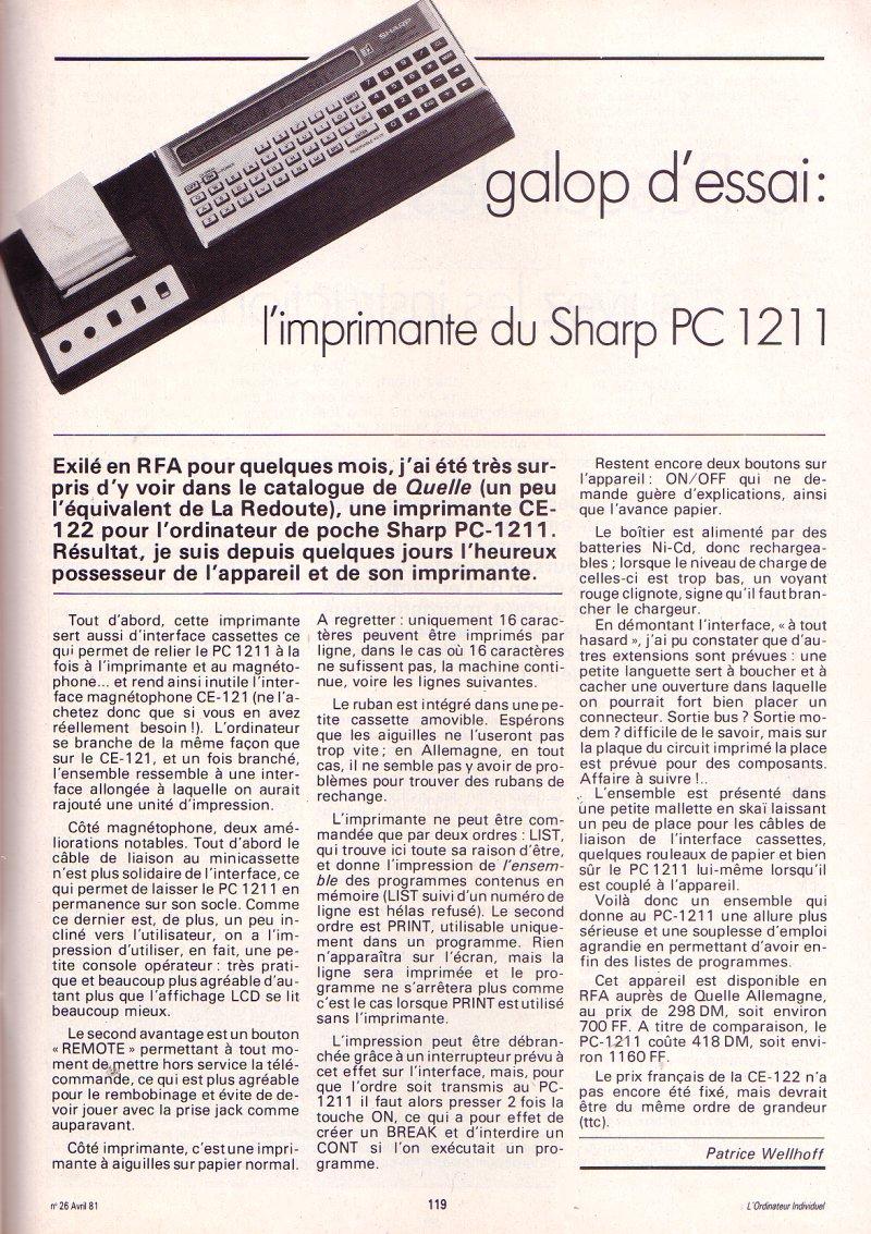 Galop d'essai : L'imprimante du Sharp PC 1211