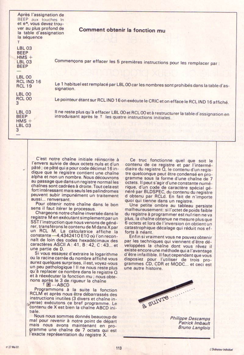 Les instructions cachées de la HP 41C - épisode 4