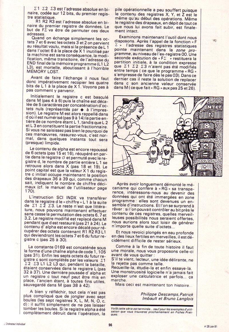 Les instructions cachées de la HP 41C - épisode 5