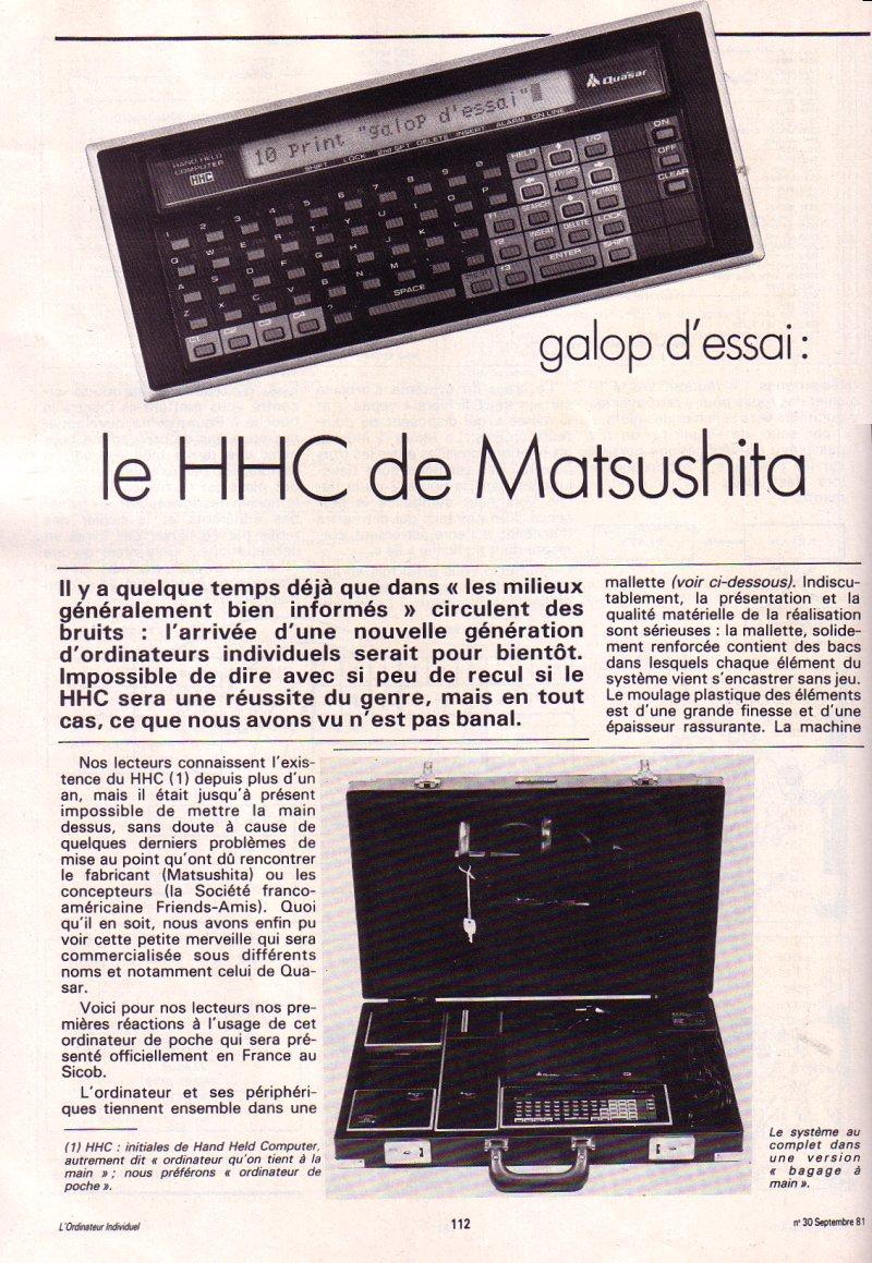 Galop d'essai : le HHC de Matsushita