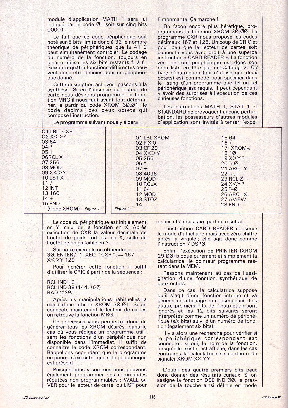 Les instructions cachées de la HP 41C
