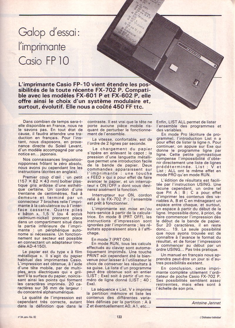 Galop d'essai - imprimante Casio FP 10