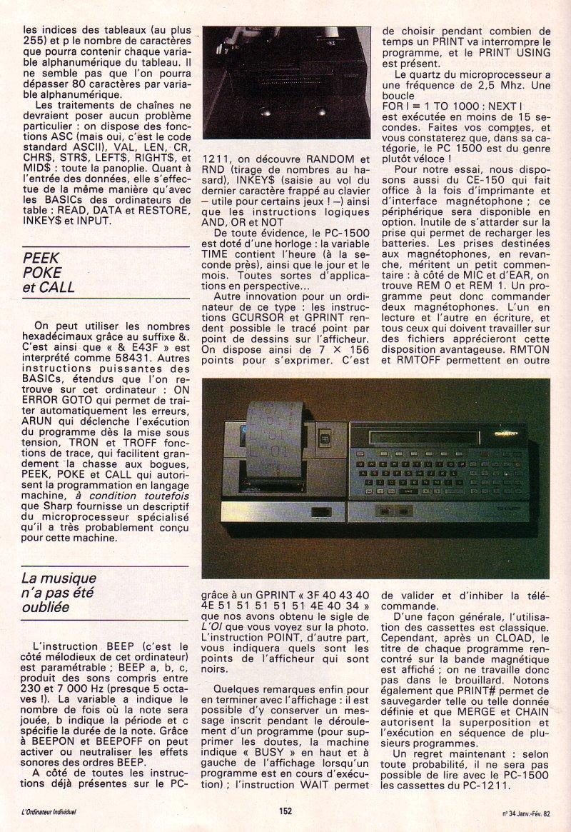 Galop d'essai - le Sharp PC 1500