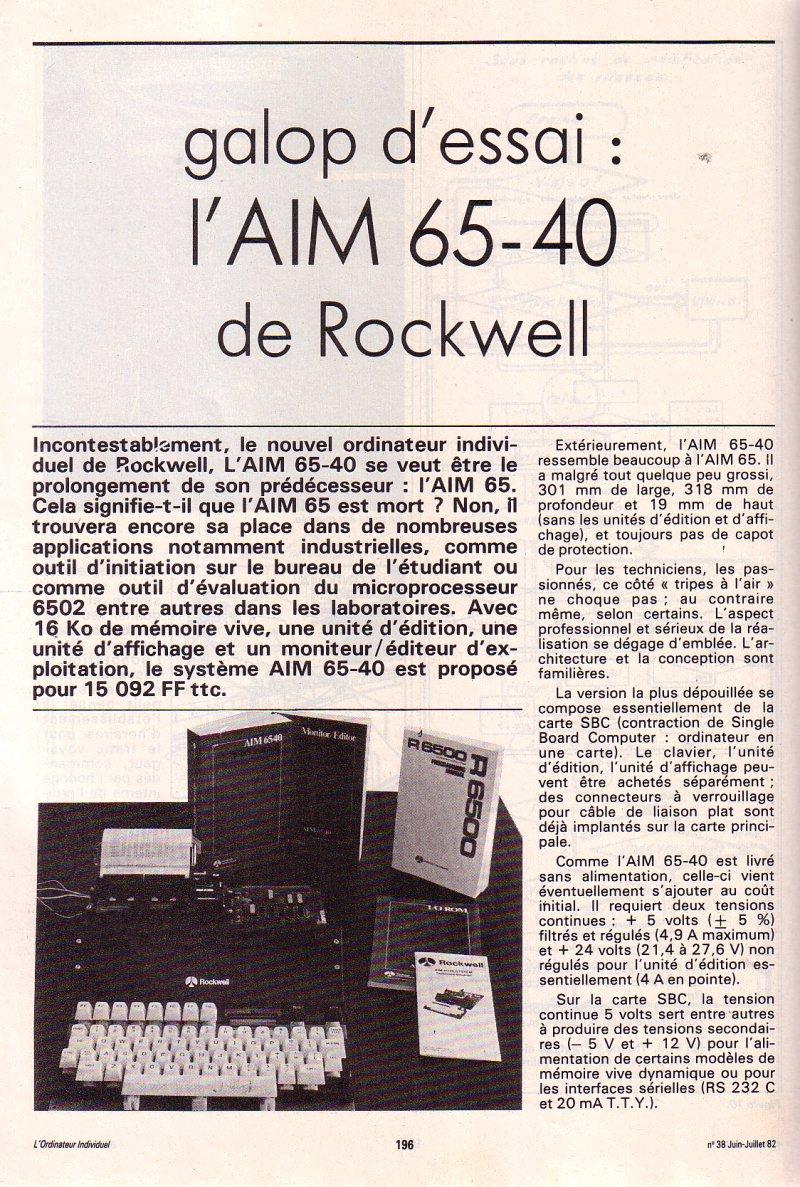 Galop d'essai - l'AIM 65/40 de Rockwell