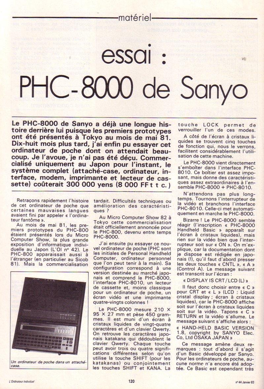 Essai - PHC 8000 de Sanyo