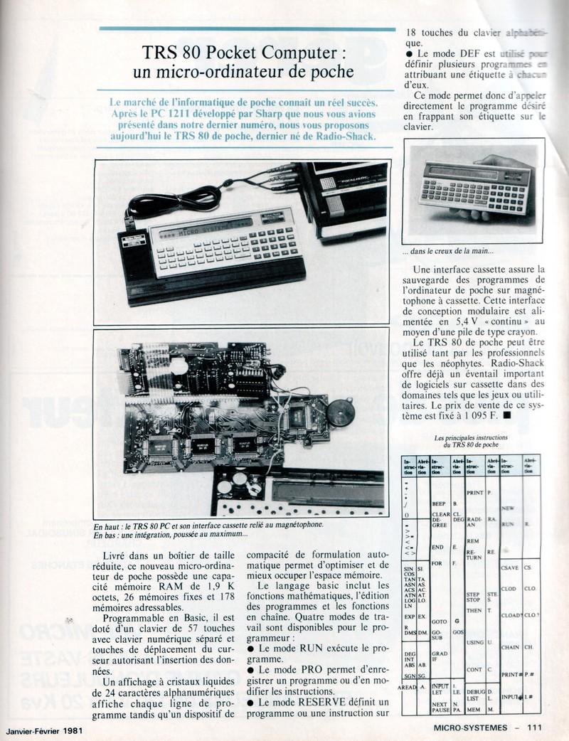 TRS 80 Pocket : un micro ordinateur de poche