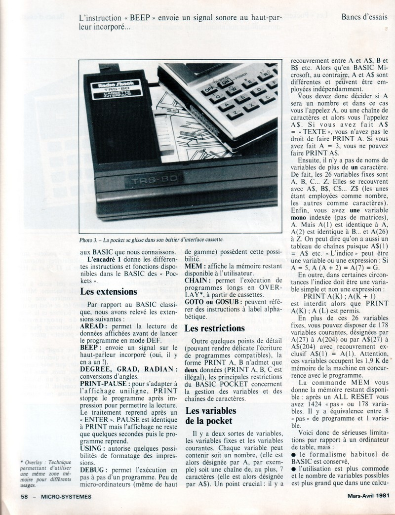 Banc d'essai du TRS 80 POCKET et SHARP PC 1211