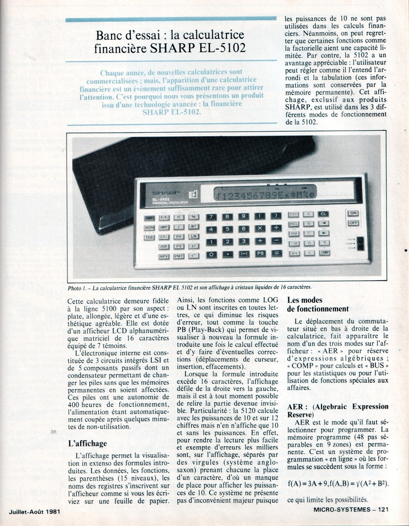 Banc d'essai la calculatrice financière SHARP EL-5102