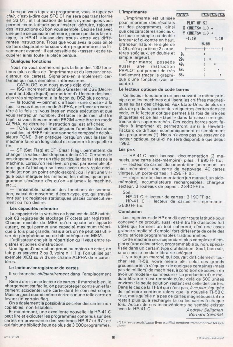 HP 41C - Galop d'essai
