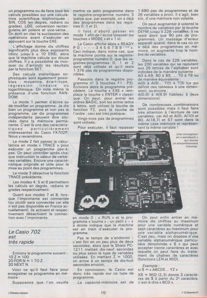 Galop d'essai : Le Casio FX-702P
