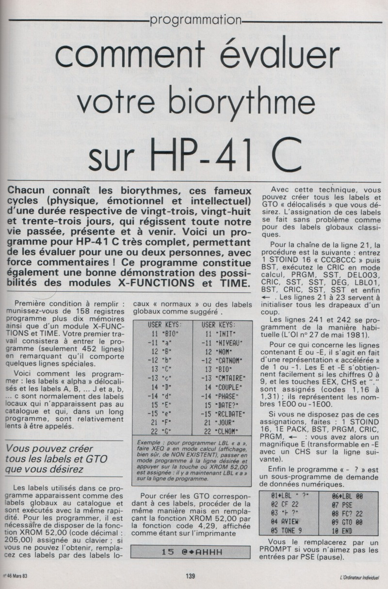 Biorythme sur HP 41C