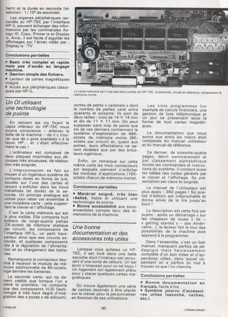 Le HP 75 au banc d'essai