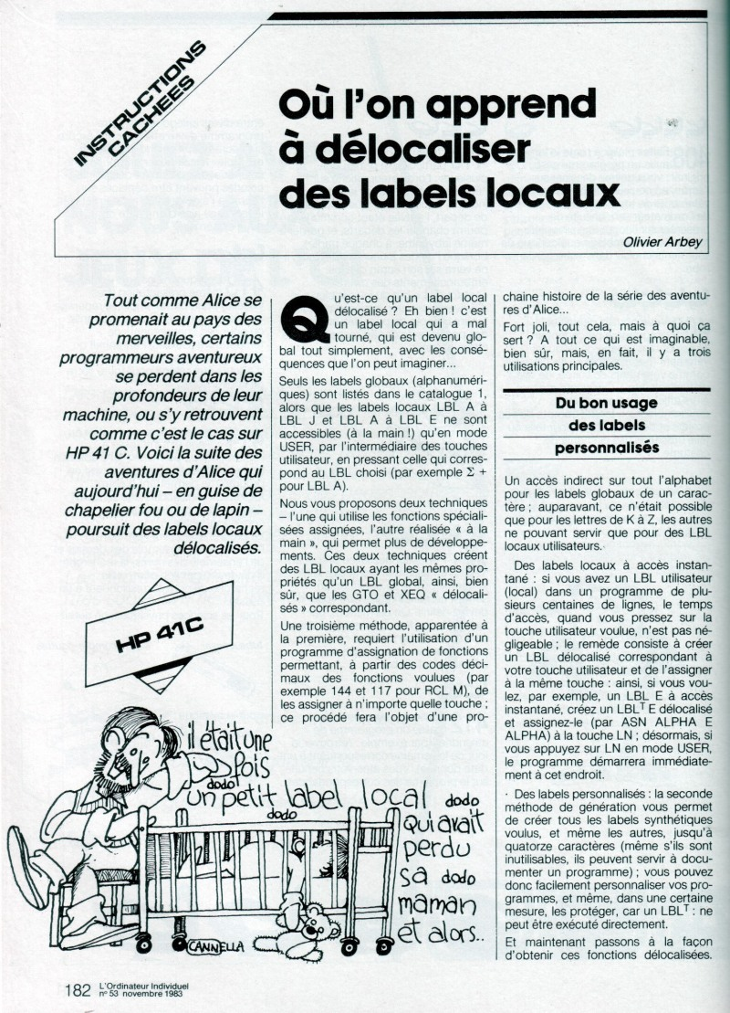 Où l'on apprend à délocaliser les labels locaux (HP 41C)